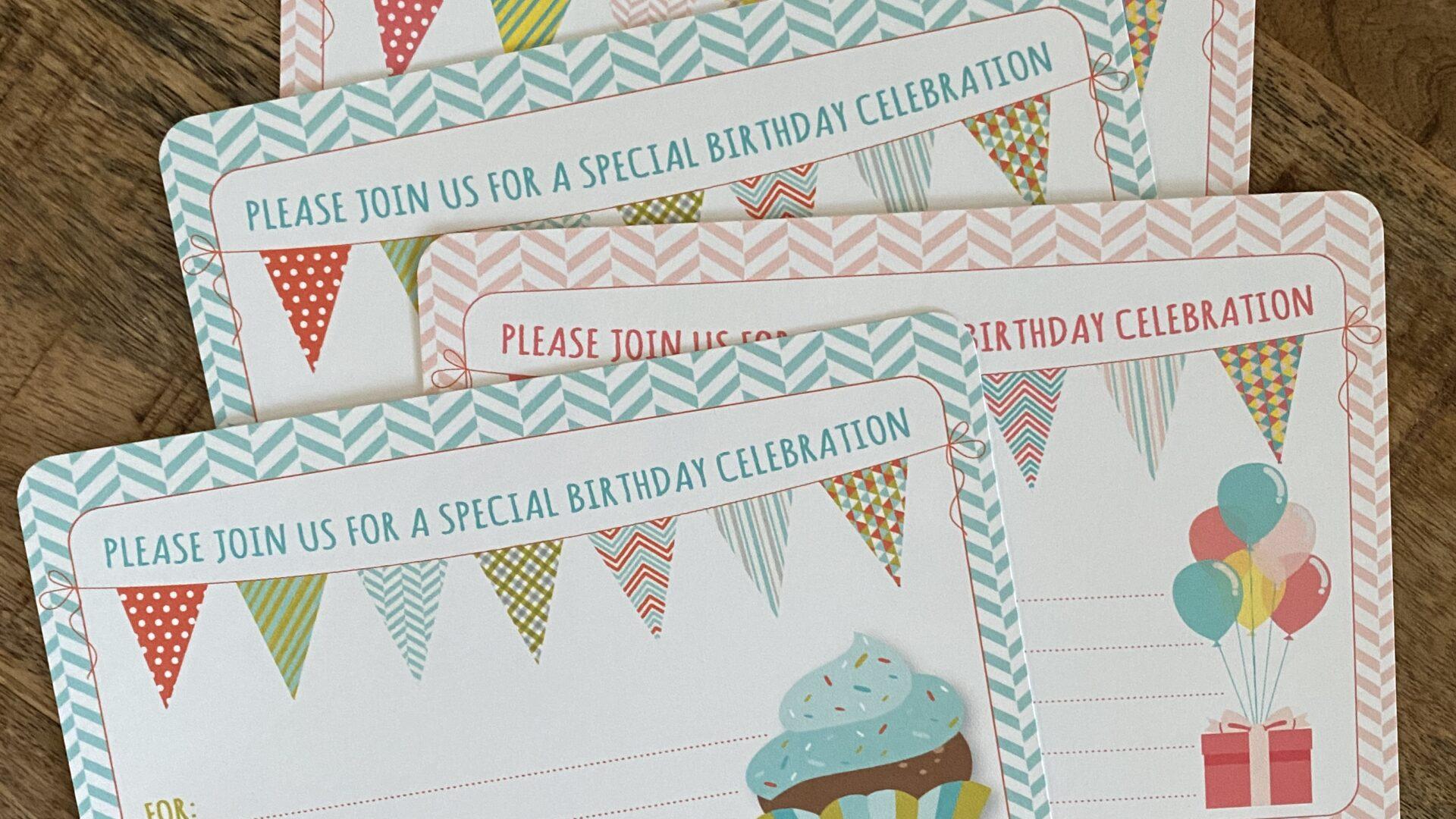 DIY Cupcake Presents and balloons Birthday Party Invitations