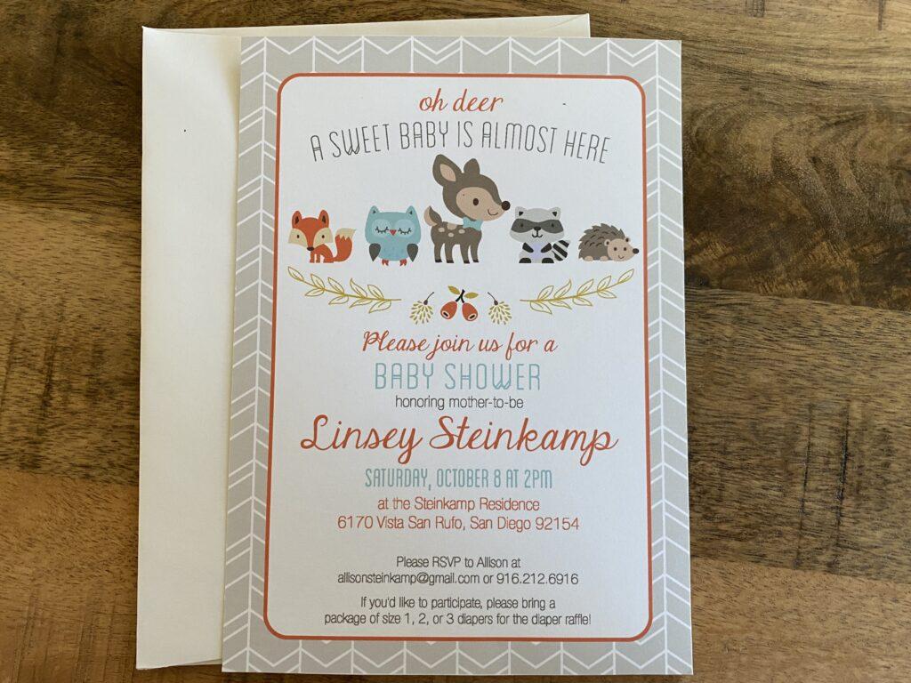 Woodland baby Shower Invitations