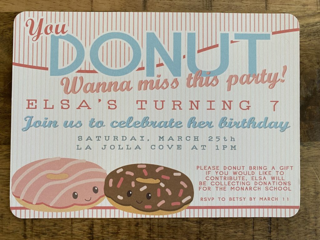 Donut Party Invitation and Thank You Cards