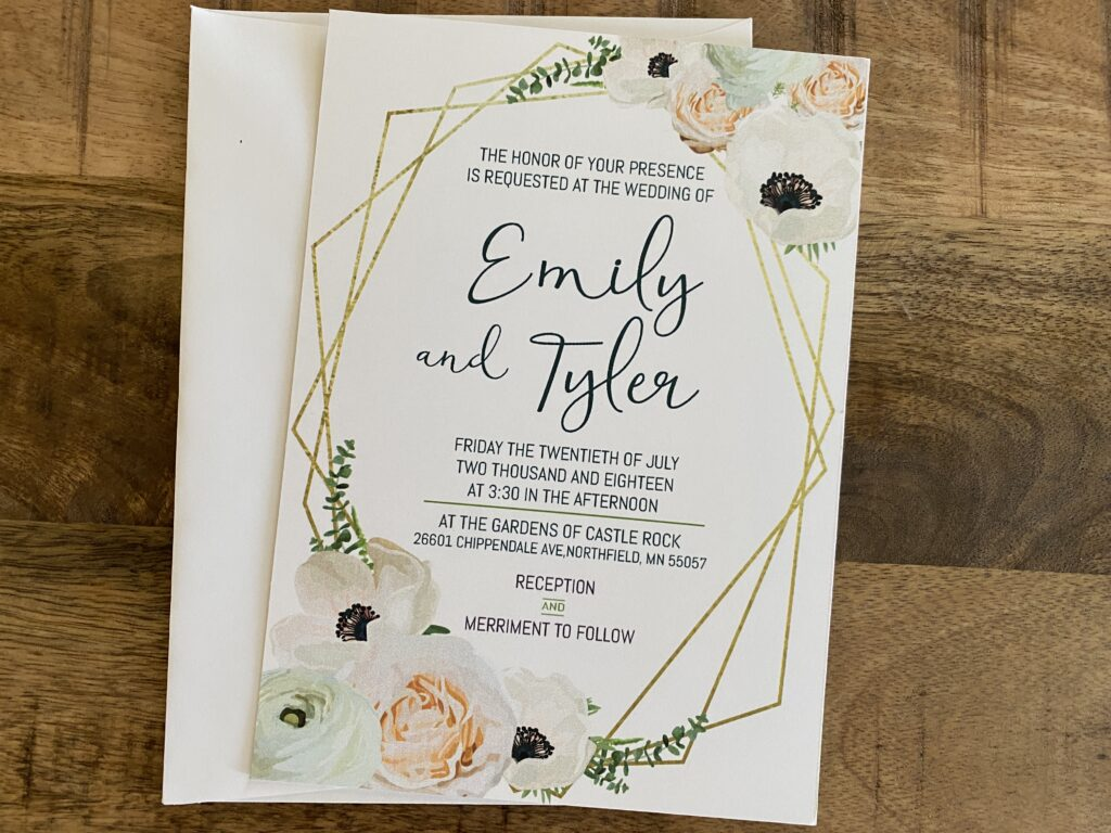 Geometric Wedding Invitation with Flowers and Gold