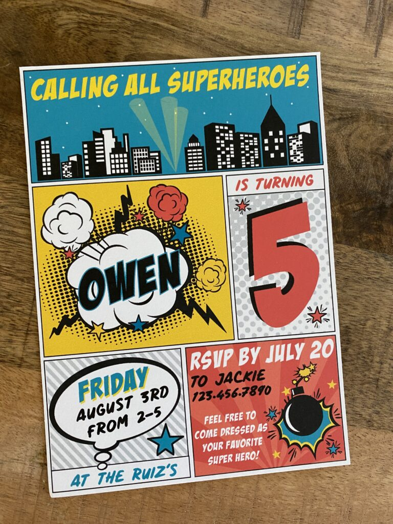Super Hero Comic Book Invitations and Thank You Cards