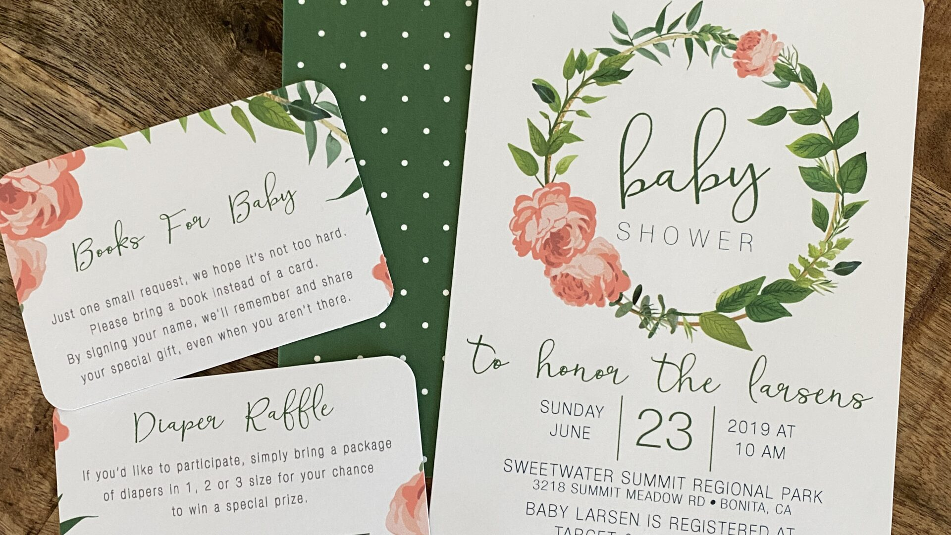 Flower and Polka Dot Baby Shower Invitations